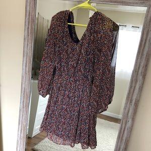 Floral Flowy Long sleeve Midi Dress size S/M